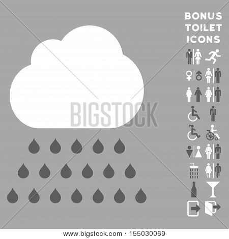 Rain Cloud icon and bonus gentleman and female lavatory symbols. Vector illustration style is flat iconic bicolor symbols, dark gray and white colors, silver background.
