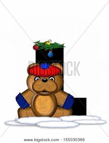 Alphabet Teddy Christmas Boughs L