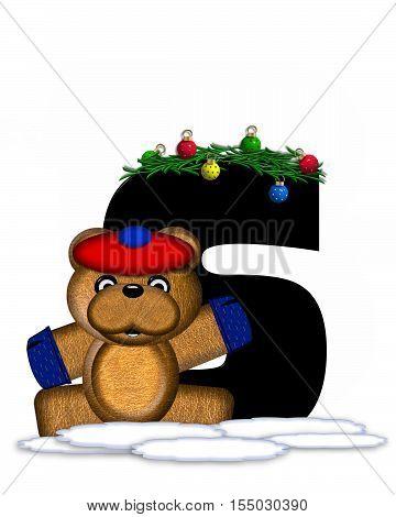 Alphabet Teddy Christmas Boughs S
