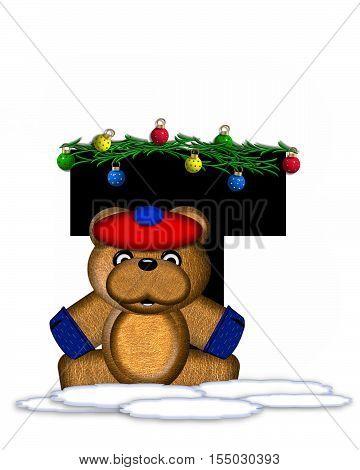 Alphabet Teddy Christmas Boughs T