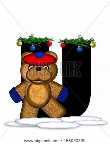 Alphabet Teddy Christmas Boughs U