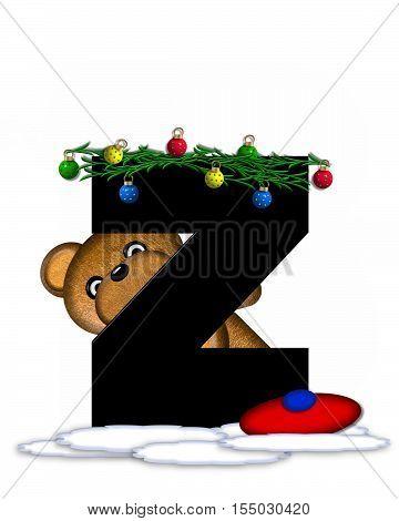Alphabet Teddy Christmas Boughs Z