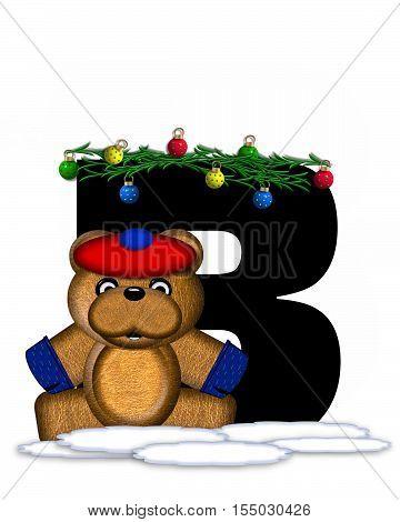 Alphabet Teddy Christmas Boughs B