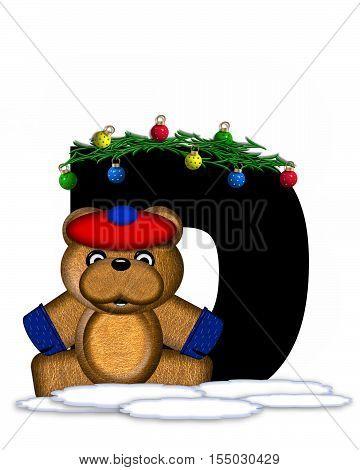 Alphabet Teddy Christmas Boughs D