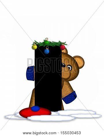 Alphabet Teddy Christmas Boughs I