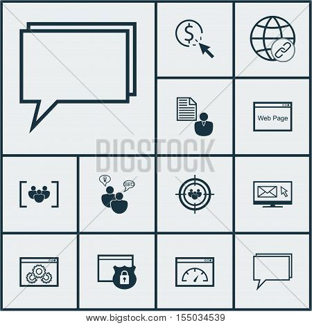 Set Of Advertising Icons On Focus Group, Seo Brainstorm And Questionnaire Topics. Editable Vector Il