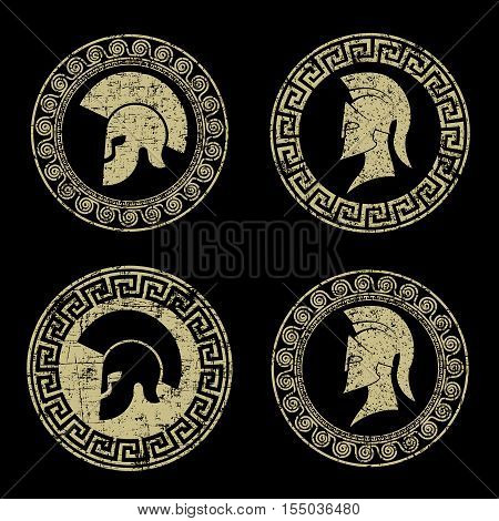 On the image presented  old shabby symbol of  Spartan warrior in grunge style