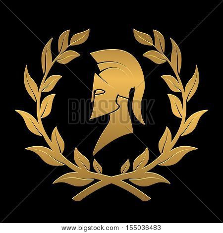 On the image presented icon the Spartan helmet in a laurel wreath from gold