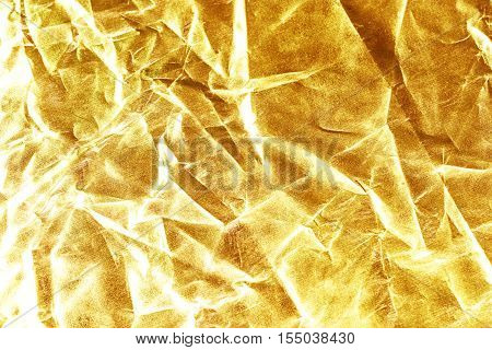 Gold Background Or Texture And Shadow. Gold Fabric Crease