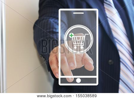 Businessman presses the button of shopping cart, Internet phone. The latest technology. Online purchase. Web icons.