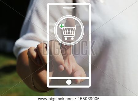 Woman presses the button of shopping cart, Internet phone. The latest technology. Online purchase. Web icons.