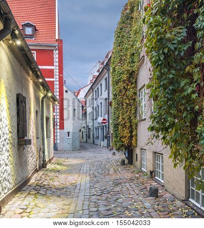 Autumn mood in old town of Riga - the capital and largest city of Latvia, major commercial, cultural, historical and tourist center of the Baltic region