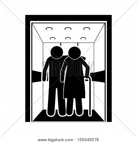silhouette of old persons inside elevator icon over white background. vector illustration
