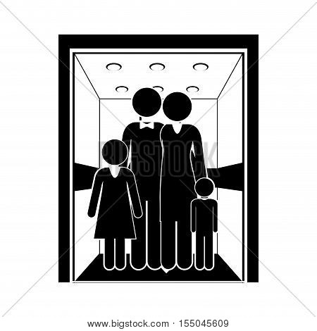 silhouette of a family inside elevator icon over white background. vector illustration