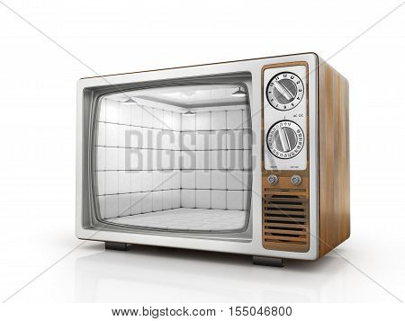 TV addiction concept. Room of mental hospital in the screen of TV. TV as prison for your mind. 3d illustration