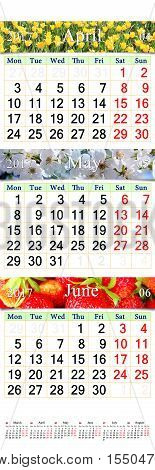 office calendar for three months April May and June 2017 with pictures of nature. Wall calendar for second quarter of 2017