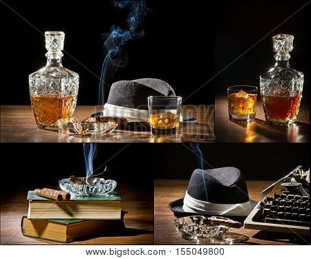 Collage Of Retro-styled Old Typewriter, Cigar, Hat And Whisky No. 2
