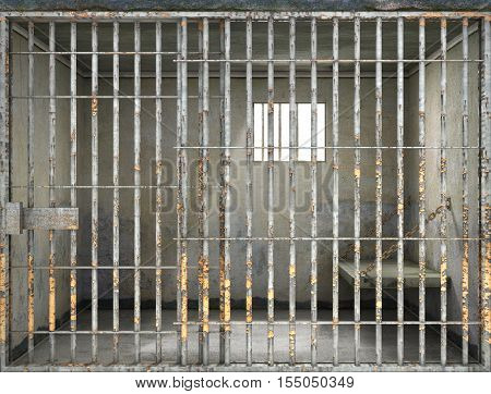 Concept of limiting freedom. Interior of prison cell. 3d illustration