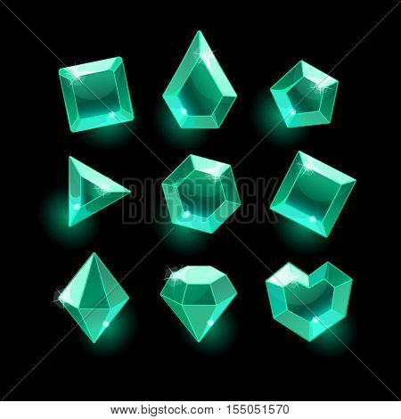 Set of cartoon green, emerald different shapes crystals, gemstones, gems, diamonds vector gui assets collection for design.isolated vector elements.Gui elements, vector games assets.menu for mobile games