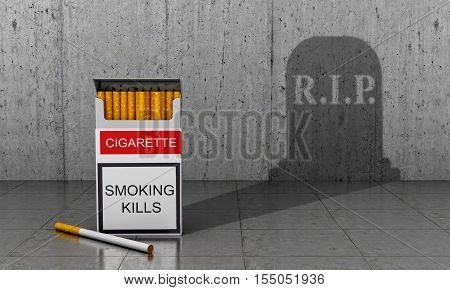 Smoking death. The concept of the impact of smoking on the human body. 3D illustration