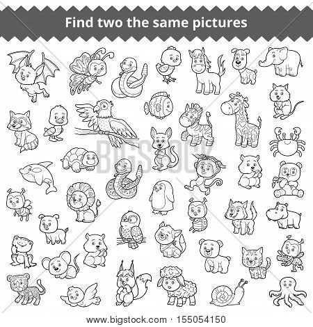 Find the same pictures, education game for children, zoo animals