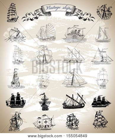 Design graphic collection with vintage ships, sailboats and vessels. Silhouettes and engraved drawings with vignette banner. Pirate adventures, treasure hunt and old transportation concept