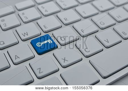Copyright key icon on modern computer keyboard button Copyright and patents concept