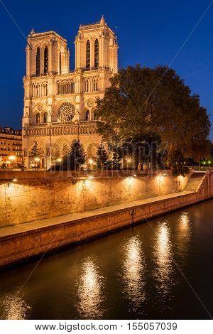 Notre Dame de Paris cathedral illuminated at twilight with the Seine River on Ile de La Cite. Summer evening in the 4th Arrondissement, Paris, France