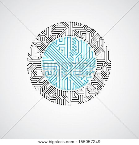 Technology Communication Cybernetic Element. Vector Abstract Illustration Of Circuit Board In The Sh