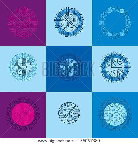 Technology Communication Cybernetic Elements Collection. Set Of Vector Abstract Circuit Boards In Th