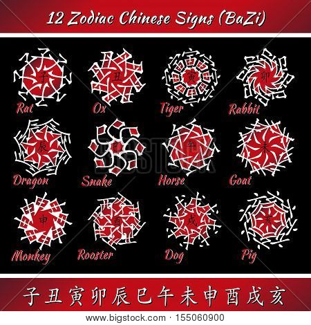 Set of chinese feng shui hieroglyphs. Translation of 12 zodiac animals, feng shui signs hieroglyph - Rat, Ox, Tiger, Rabbit, Dragon, Snake, Horse, Goat, Monkey, Rooster, Dog, Pig.