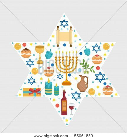 Set icons of Hanukkah Happy Hanukkah. Hanukkah greeting card. Cartoon icons flat style. Traditional symbols of Jewish culture. Vector illustration.
