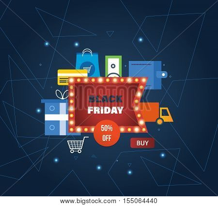 Black Friday Sale Banner Template with online shopping, payment methods, ordering and secure payment, order delivery, special offers and discounts for shopping, mobile devices, online shop.