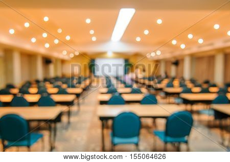 Abstract blurred image of empty meeting room