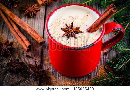 Christmas Drink: Hot White Chocolate With Cinnamon And Anise In Red Mug