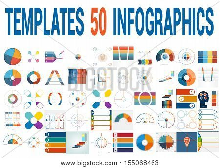 50 Vector Templates for Infographics pie chart ring chart area chart timeline list diagram with text areas for four positions.