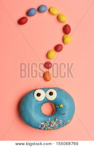 Funny Surprised Donut With Colorful Dragee