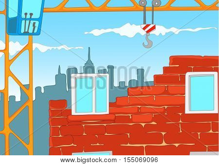 Hand drawn cartoon of urban construction site with crane. Colourful cartoon of house construction. Cartoon of construction of new residential house from bricks. Background of unfinished city house.