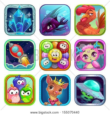Funny cartoon square app icons for application store. Game logo templates for gui design.
