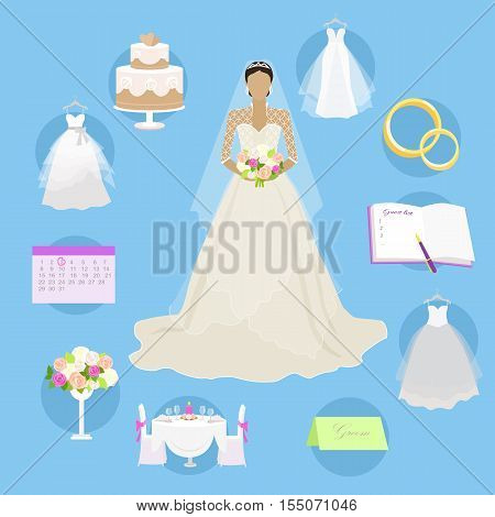 Fashion bride in luxury dress. Wedding elements in round buttons. Wedding planning, preparation, decor banners. Female character without face in white dress. Marriage concept, apps logos infographic