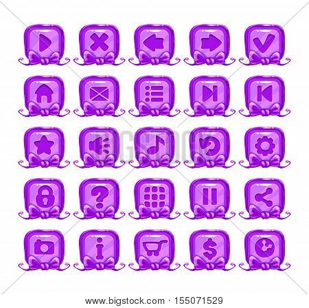 Cute cartoon violet buttons set. Girlish vector design elements for web design. Game menu icons.