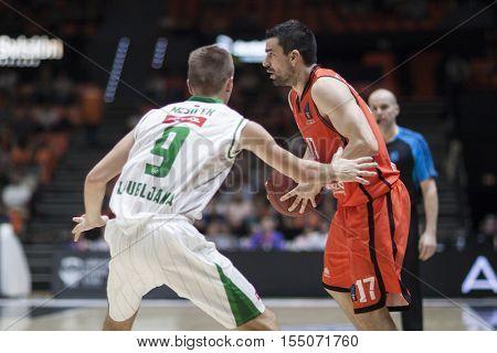 VALENCIA, SPAIN - NOVEMBER 2nd: Martinez with ball during Eurocup match between Valencia Basket and Union Olimpija Ljubljana at Fonteta Stadium on November 2, 2016 in Valencia, Spain