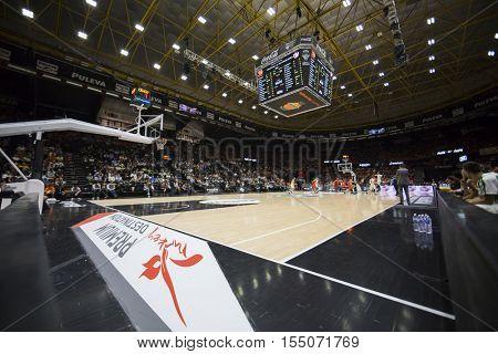VALENCIA, SPAIN - NOVEMBER 2nd: Fonteta Stadium during Eurocup match between Valencia Basket and Union Olimpija Ljubljana at Fonteta Stadium on November 2, 2016 in Valencia, Spain