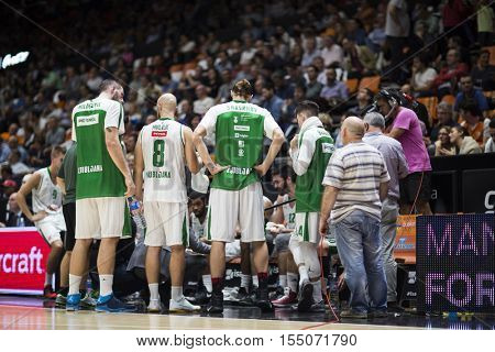 VALENCIA, SPAIN - NOVEMBER 2nd: Olimpija Team during Eurocup match between Valencia Basket and Union Olimpija Ljubljana at Fonteta Stadium on November 2, 2016 in Valencia, Spain