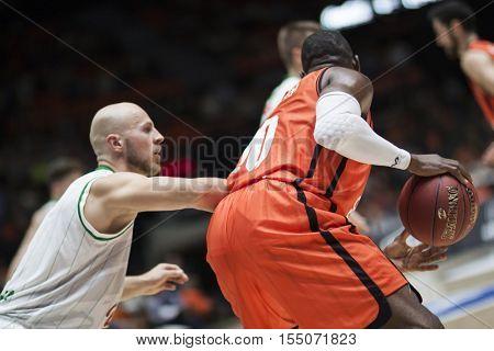VALENCIA, SPAIN - NOVEMBER 2nd: Sato with ball during Eurocup match between Valencia Basket and Union Olimpija Ljubljana at Fonteta Stadium on November 2, 2016 in Valencia, Spain