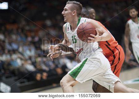 VALENCIA, SPAIN - NOVEMBER 2nd: Hrovat with ball during Eurocup match between Valencia Basket and Union Olimpija Ljubljana at Fonteta Stadium on November 2, 2016 in Valencia, Spain