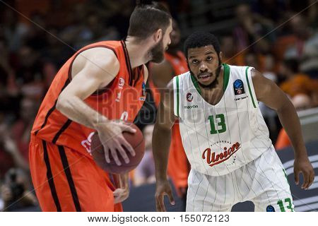 VALENCIA, SPAIN - NOVEMBER 2nd: 13 Jefferson during Eurocup match between Valencia Basket and Union Olimpija Ljubljana at Fonteta Stadium on November 2, 2016 in Valencia, Spain