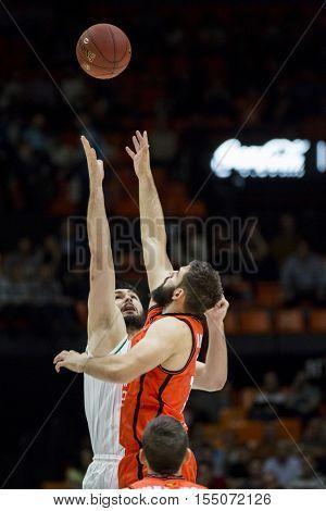 VALENCIA, SPAIN - NOVEMBER 2nd: (L) Jankovic, (R) Dubljevic during Eurocup match between Valencia Basket and Union Olimpija Ljubljana at Fonteta Stadium on November 2, 2016 in Valencia, Spain