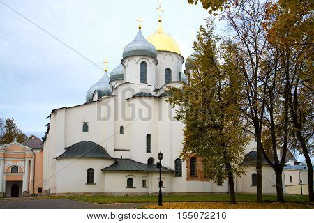St. Sophia Cathedral in the gloomy October afternoon. Kremlin of Veliky Novgorod, Russia