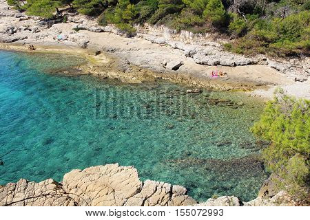 Pula Croatia - September 29 2016: Amazing view of Valovine beach and its transparent waters